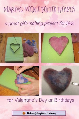 Making Needle Felted Hearts, a great gift-making project for kids