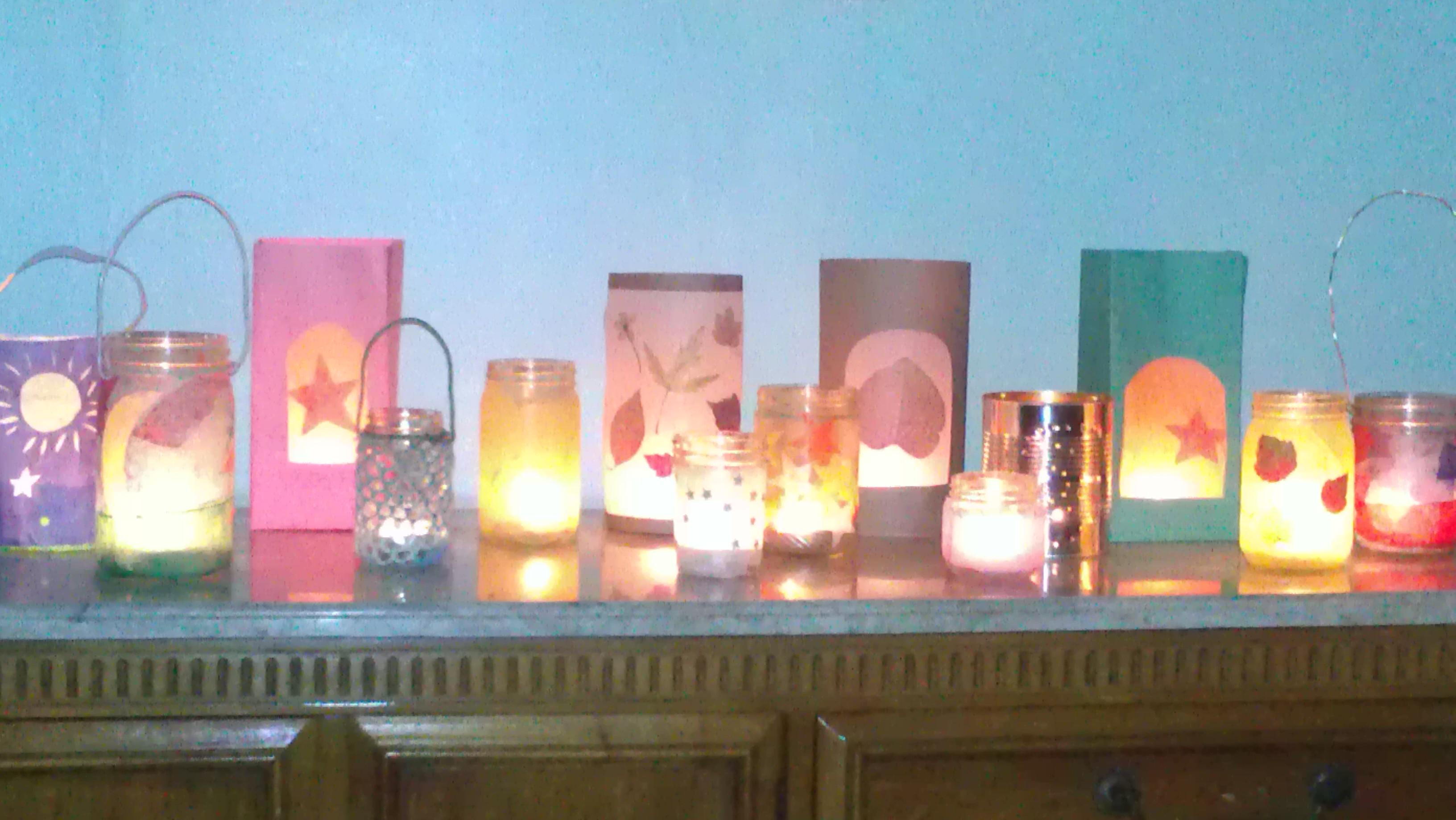 Glowing lanterns, all homemade.