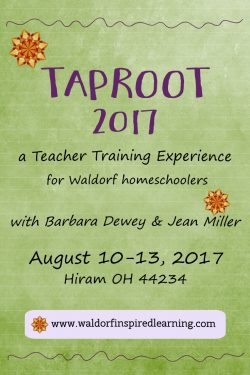 Taproot 2017, a teacher training experience for Waldorf homechoolers