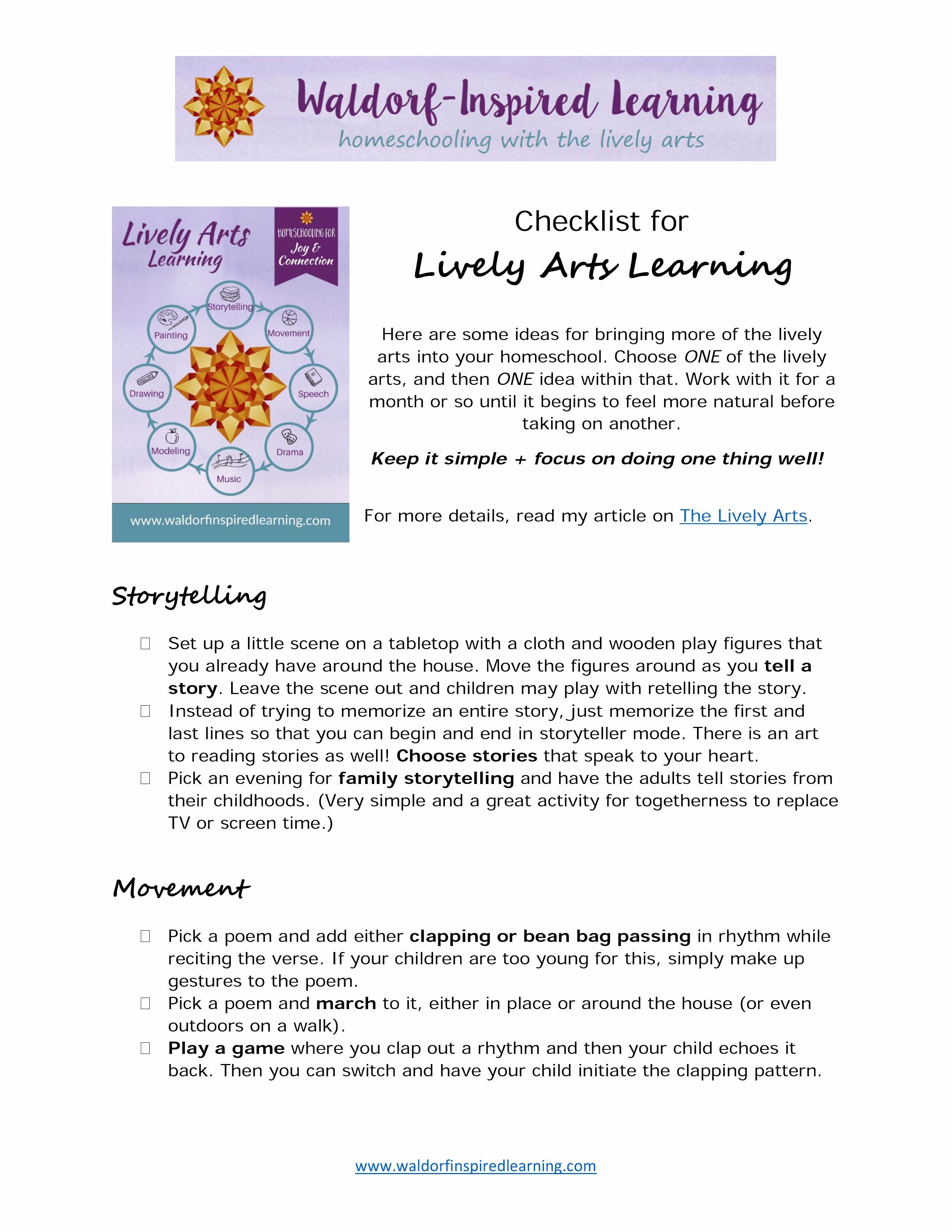 Resources for waldorf homeschooling waldorf inspired learning get your checklist for homeschooling with the lively arts plus weekly support encouragement for your waldorf homeschooling journey fandeluxe Choice Image