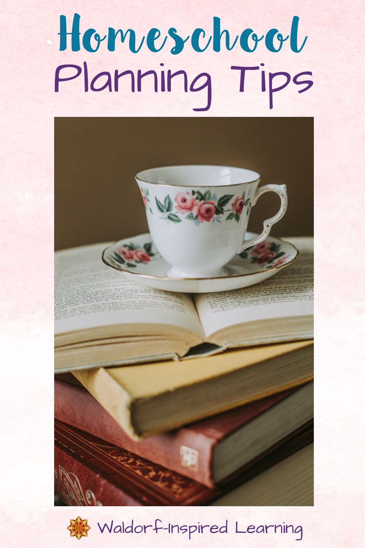 Homeschool Planning Tips, grab your books and a cup of tea